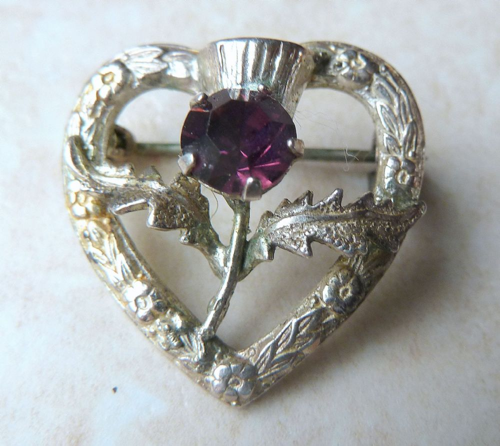 Vintage Dainty Sterling Silver Scottish Thistle Heart